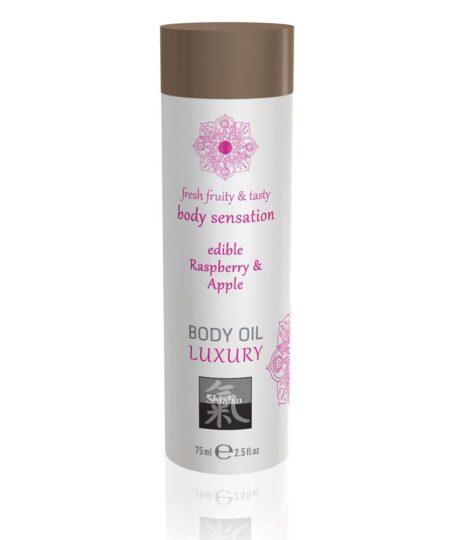 Shiatsu Luxury Body Oil Edible Raspberry And Apple 75ml Flavoured Lubricants and Oils