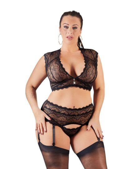 Cottelli Plus Size Bralette and String Set Black Plus Size Lingerie