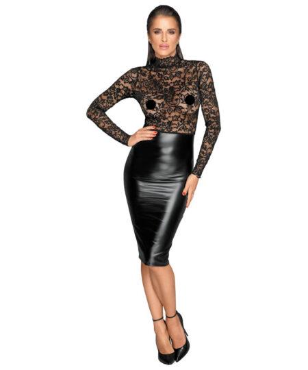 Noir Black Lace and Wet Look Pencil Dress Dresses and Chemises