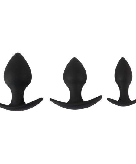 Black Velvet Silicone Three Piece Anal Training Set Butt Plug Kits