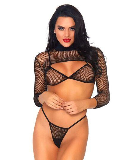 Leg Avenue Net Top, Thong And Bra UK 8 to 14 Bra Sets
