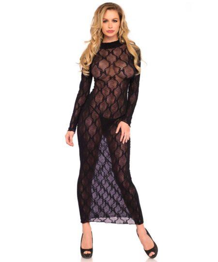 Leg Avenue Long Sleeved Long Dress UK 8 to 14 Dresses and Chemises