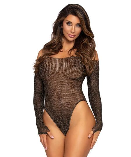 Leg Avenue Lurex Fishnet Bodysuit UK 8 to 14 Bodies and Playsuits