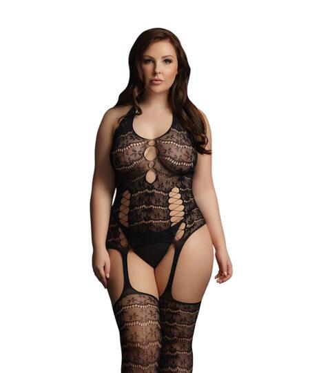 Le Desir Lace Suspender Bodystocking UK 14 to 20 Plus Size Lingerie