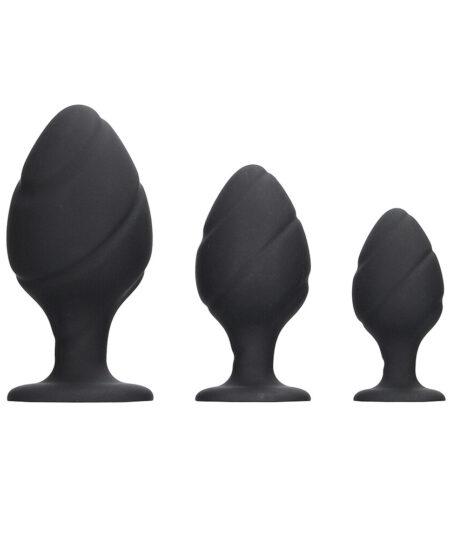 Ouch Silicone Swirled Butt Plug Set Black Butt Plug Kits
