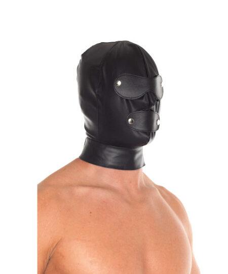 Leather Full Face Mask With Detachable Blinkers Bondage Hoods